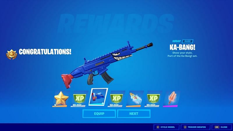 The Ka-Bang weapon wrap is available from the Fortnite Freaky Flight LTM (Image via I Talk/Twitter)