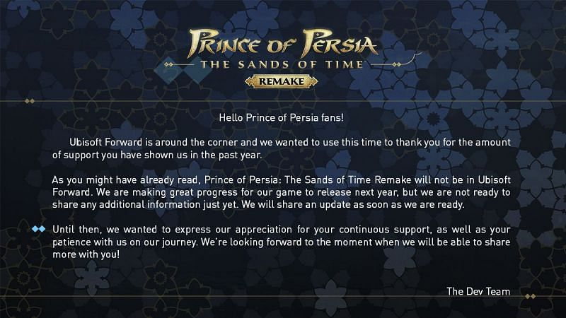Update on Prince of Persia: Sands of Time Remake (Image via Ubisoft)