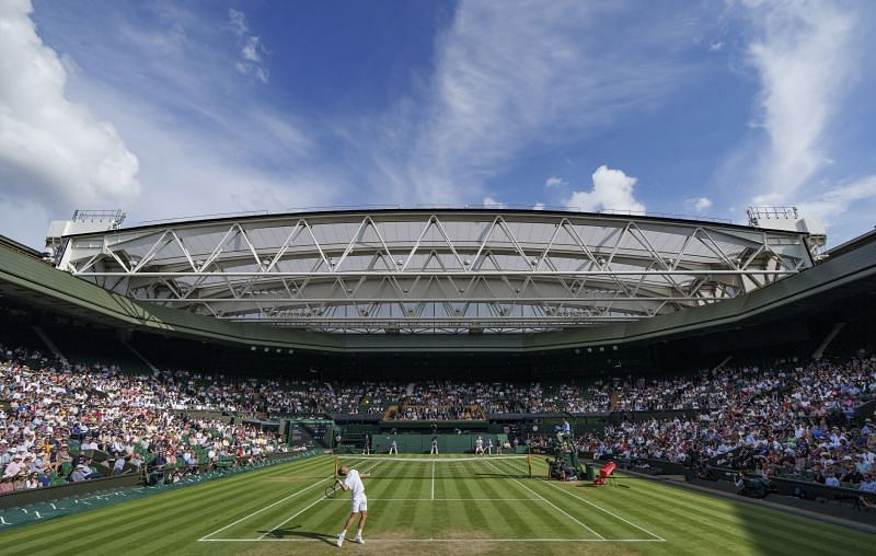 A general view of Centre Court at the All England Lawn Tennis and Croquet Club