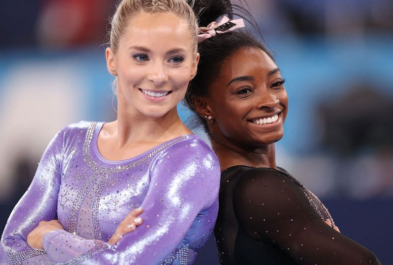 Mykayla Skinner and Simone Biles of Team United States pose for a photo during Women's Podium Training ahead of the Tokyo 2020 Olympic Games at Ariake Gymnastics Centre on July 22, 2021 in Tokyo, Japan. (Photo by Patrick Smith/Getty Images)