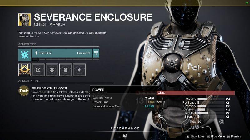 Destiny 2 exotic armor piece Severance Enclosure (Image source Destiny 2 the game)