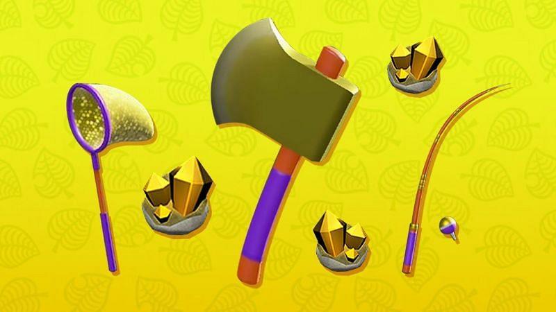 Jaring Emas, Kapak, dan Pancing di Animal Crossing: New Horizons (Gambar via IGN)