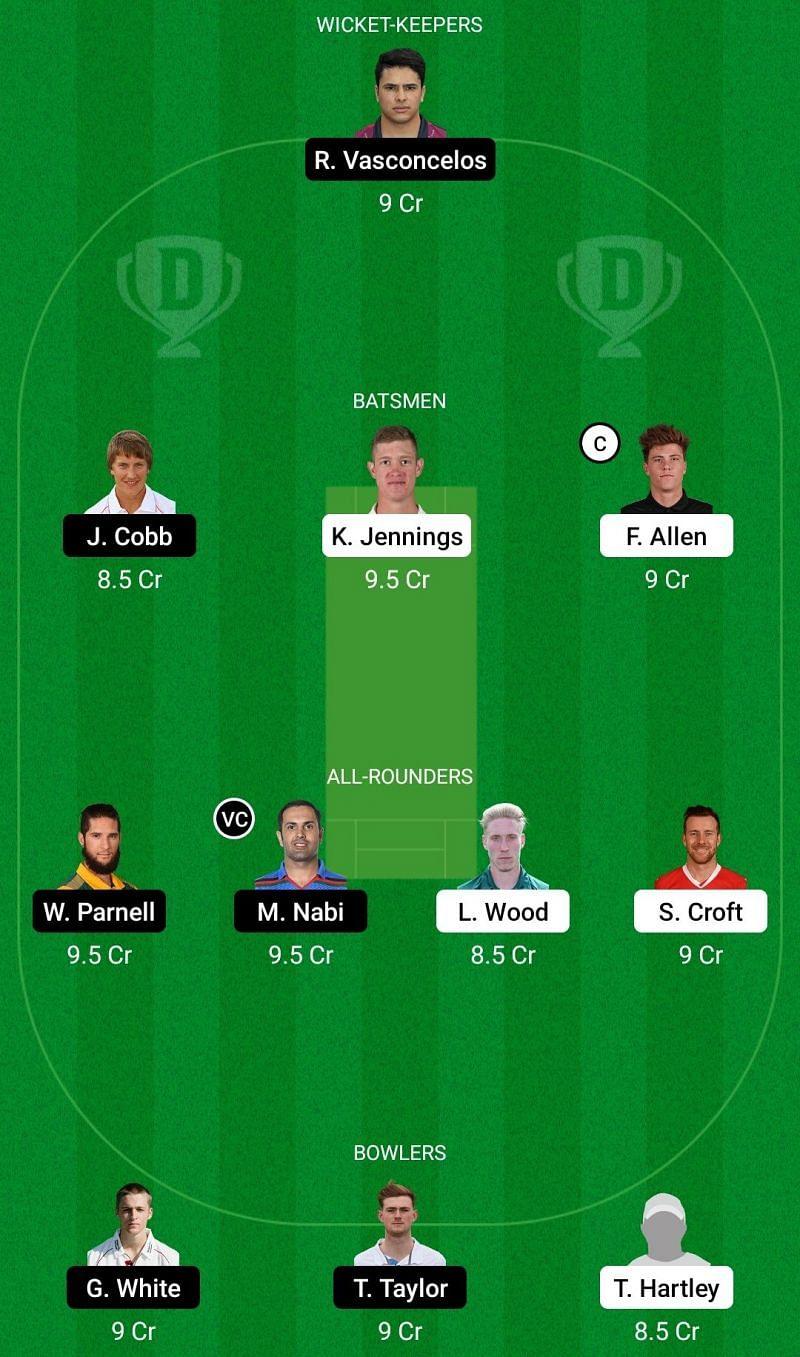 Dream11 Team for Lancashire vs Northamptonshire - Vitality T20 Blast 2021.