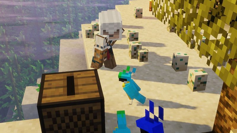 A wholesome image of a player dancing with some parrots next to a jukebox (Image via u/Mogwr on Reddit)