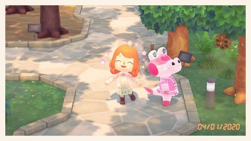 Gayle with a villager in Animal Crossing: New Horizons (Image via Reddit)