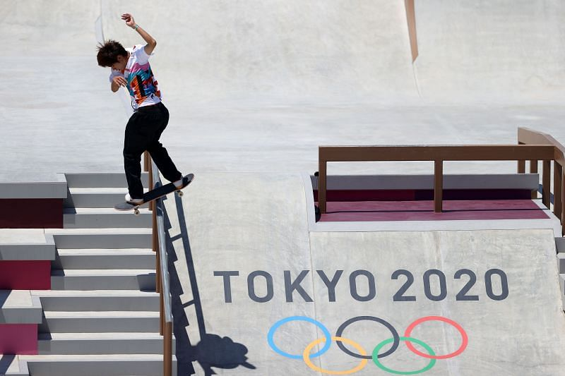 Yuto Horigome of Japan in action at the men's street event in Tokyo Olympics 2020