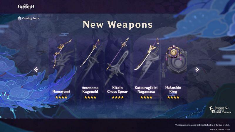 New Inazuma Craftable Weapons (image via miHoYo)