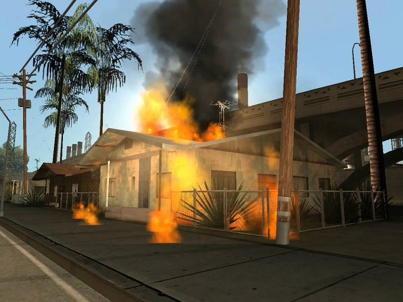 A random house in flames because of the riots (Image via GTA Wiki)