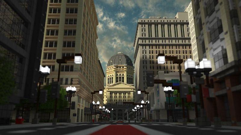 Ce qui est génial avec les entreprises individuelles dans Minecraft, c'est que la ville peut être agrandie (Image via Reddit)