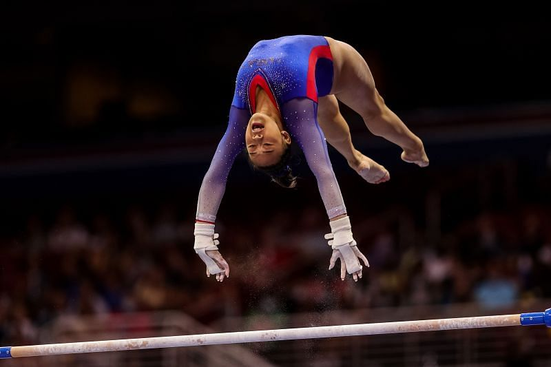 The Uneven bars remain Simone Biles' one of the weak points and she will be challenged by USA's Sunisa Lee for the top honors (Photo by Carmen Mandato/Getty Images)