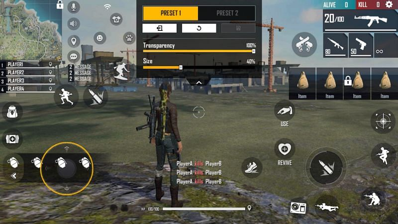 The gloo grenade button should be visible and accessible (Image via Garena Free Fire)