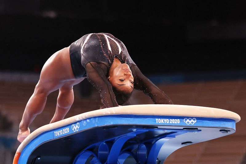 Simone Biles performs the Yurchenko double pike in vault at the Tokyo Olympics Podium Training (Photo by Jamie Squire/Getty Images)