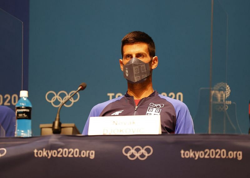 Novak Djokovic during his press conference at the Tokyo Olympics 2020