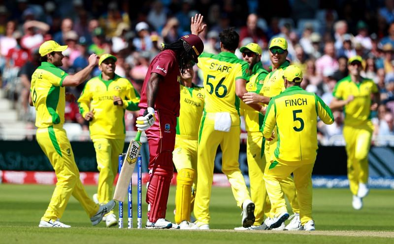 Mitchell Starc dismissed Chris Gayle in the 2019 Cricket World Cup match between Australia and the West Indies.