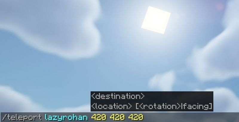 Il comando che teletrasporta il giocatore (Immagine tramite Minecraft)