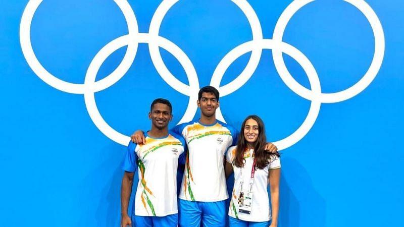 Sajan Prakash, Srihari Nataraj and Maana Patel (credits: SAI twitter)