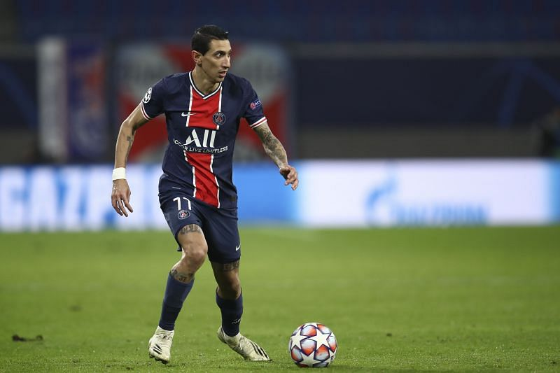 Angel Di Maria in action for PSG in the UEFA Champions League