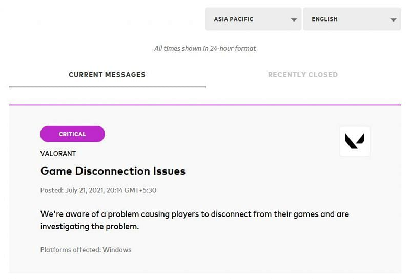 Notification about the server issues in Asia Pacific Region (Screengrab from Valorant service status page)