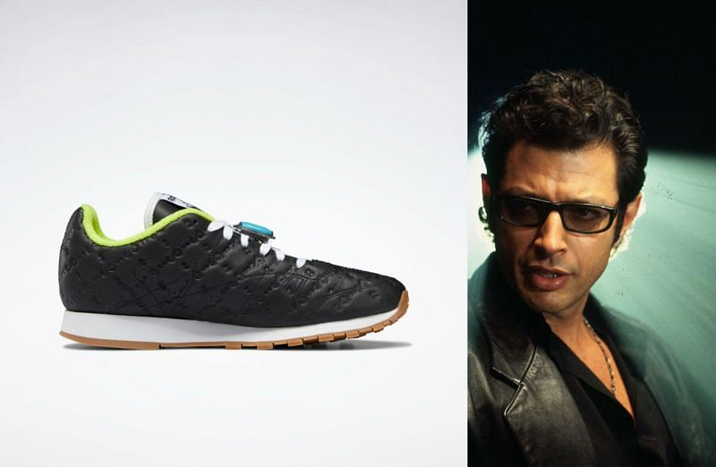 Classic Leather and Dr. Ian Malcolm (Image via Reebok, and Universal Pictures)