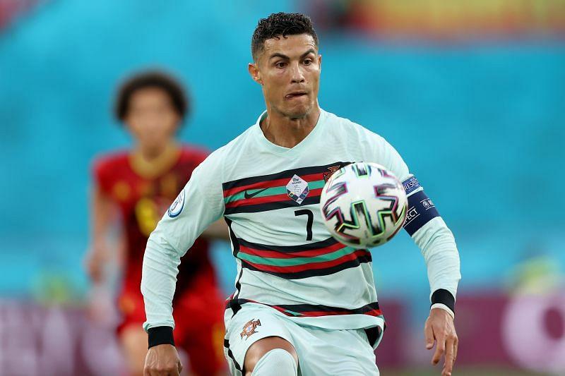 Cristiano Ronaldo in action during Belgium v Portugal - UEFA Euro 2020: Round of 16