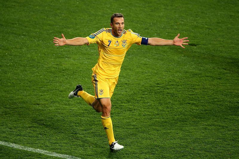 Andriy Shevchenko in action for Ukraine