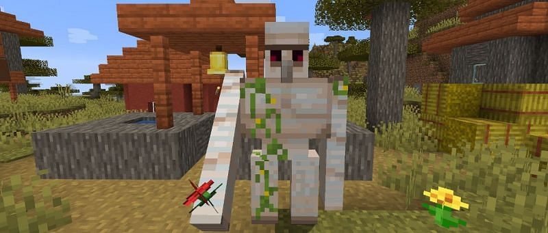 A loyal iron golem defending his post (Image via mcbedrock)