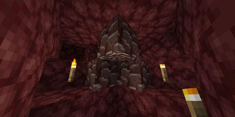 Three ancient debris (Image via Minecraft)