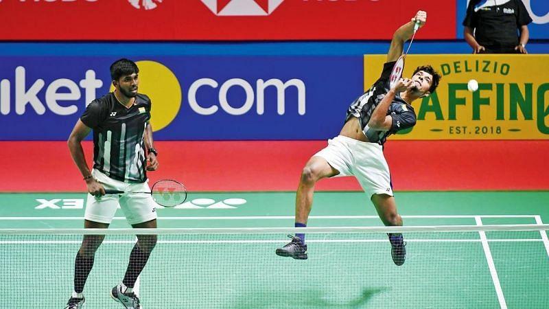 Chirag Shetty (right) and Satwiksairaj Rankireddy got off to a winning start in Tokyo on Saturday