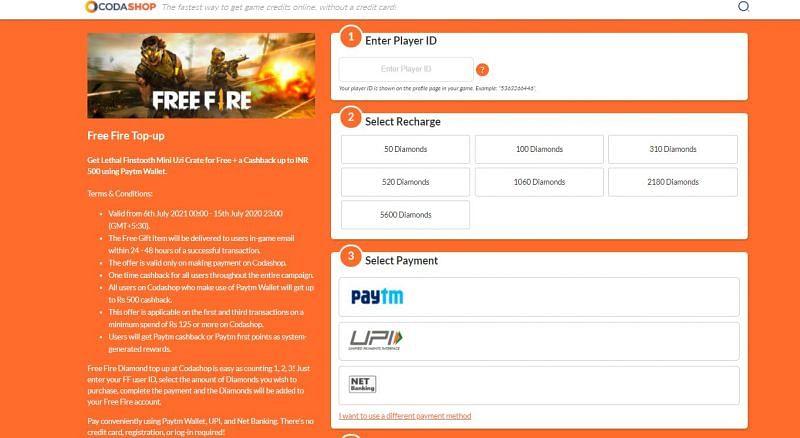 Insira o UID, selecione a recarga necessária e o método de pagamento