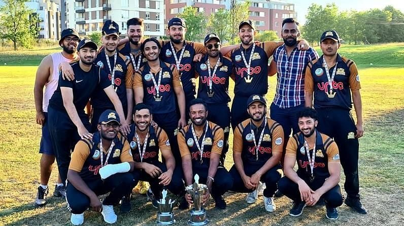 MU Dons pose with the trophy after winning the ECS T10 Bulgaria 2020 (Image Courtesy: ECN)