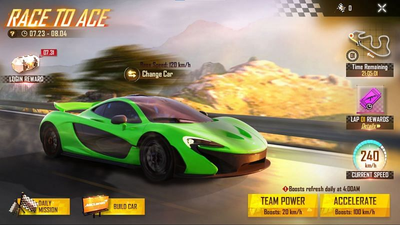 Race to Ace event in Free Fire (Image via Free Fire)