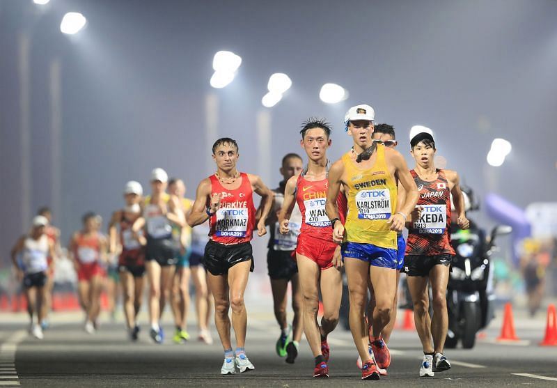 Competitors in action during the 20 kilometres Race Walk Final during day eight of 17th IAAF World Athletics Championships Doha