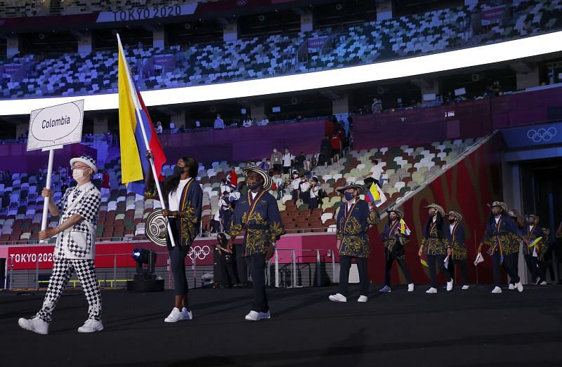 Flag bearers Caterine Ibarguen and Yuberjen Herney Martinez Rivas of Team Colombia during the Opening Ceremony of the Tokyo 2020 Olympic Games