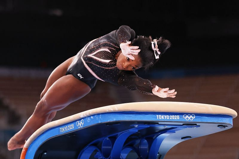 Simone Biles of Team United States trains on vault during Women's Podium Training ahead of the Tokyo 2020 Olympic Games at Ariake Gymnastics Centre on July 22, 2021 in Tokyo, Japan. (Photo by Jamie Squire/Getty Images)