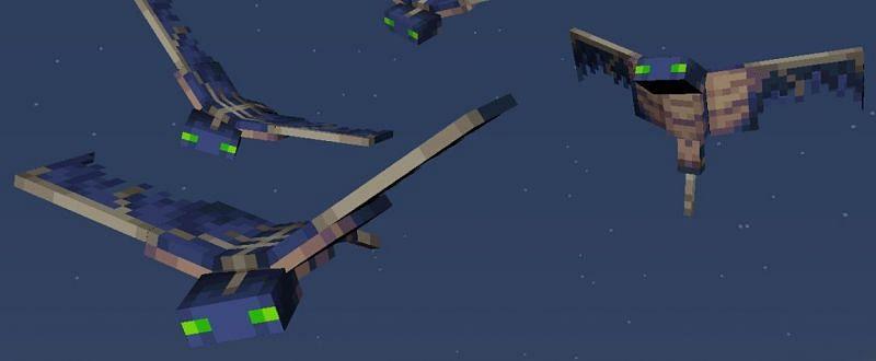 A couple of phantom buddies flying around in the Minecraft sky (Image via Mojang)