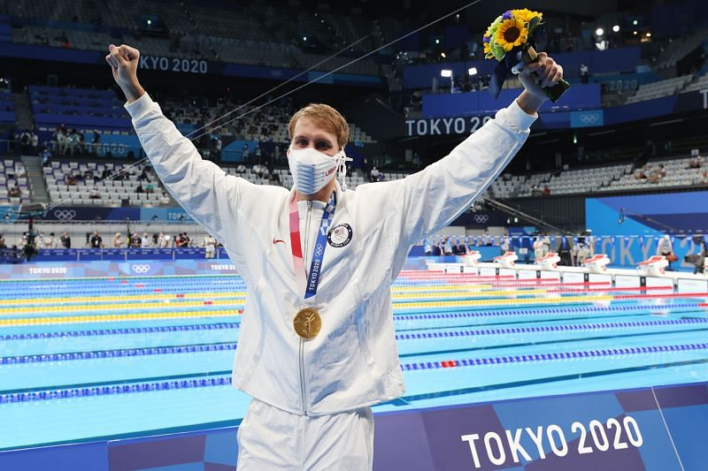 Chase Kalisz of Team United States celebrates with the gold medal for the Men's 400m Individual Medley Final at the Tokyo Olympics 2020
