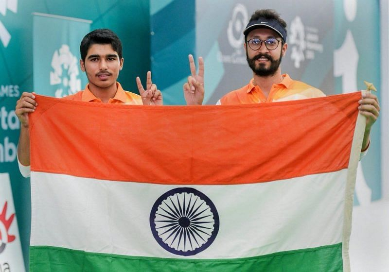 Saurabh Chaudhary and Abhishek Verma at the 2018 Asian Games