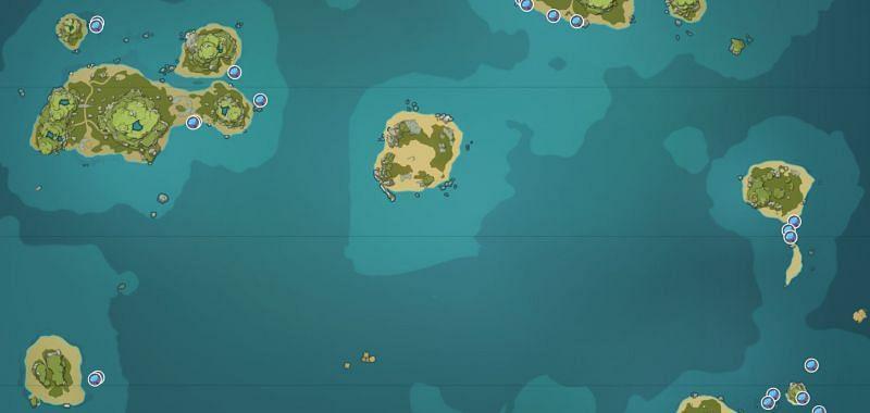 Sea Ganoderma locations on Broken Isle (image via Genshin Impact Interactive World Map)