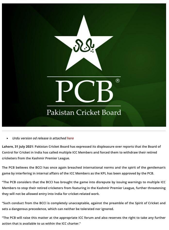 The PCB Press Release.