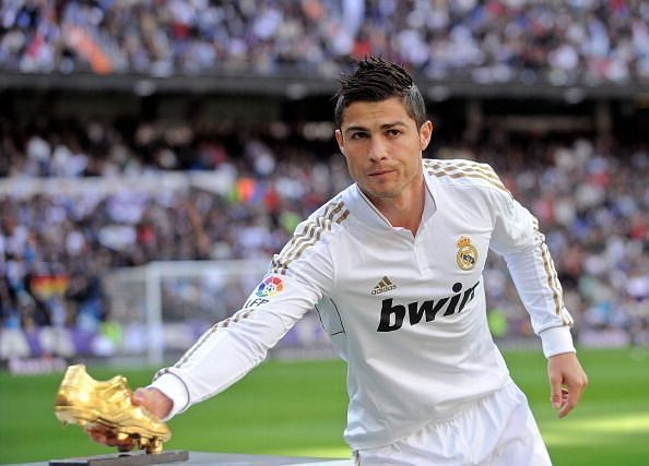 The Portuguese superstar footballer in Real Madrid's shirt