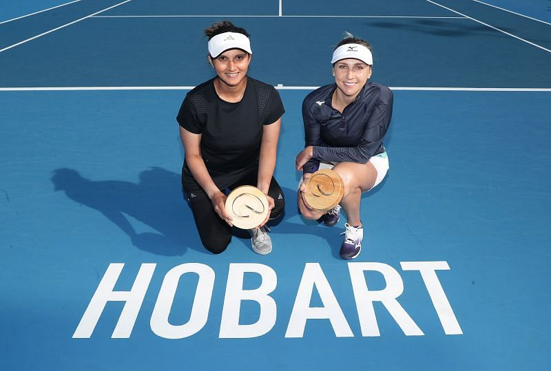 Sania Mirza (L) with Nadiia Kichenok at the 2020 Hobart International.