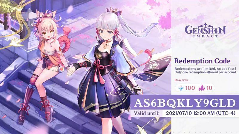 Genshin Impact redeem code for July (image via miHoYo)