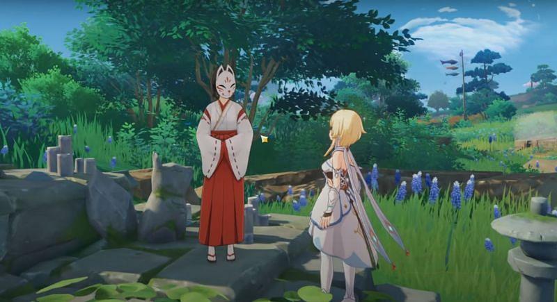 The Traveler speaking to Kazari in Genshin Impact (image via 100% Guides)