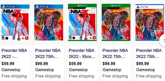 Several pre-order options from Gamestop. Image via Google