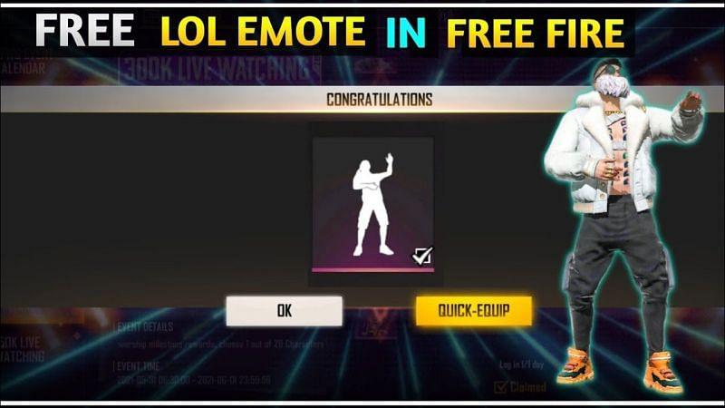 LOL emote in Free Fire (Image via Tej India Gaming, YouTube)