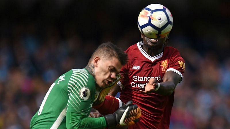 Ederson was caught in the head by Sadio Mane's high boot.