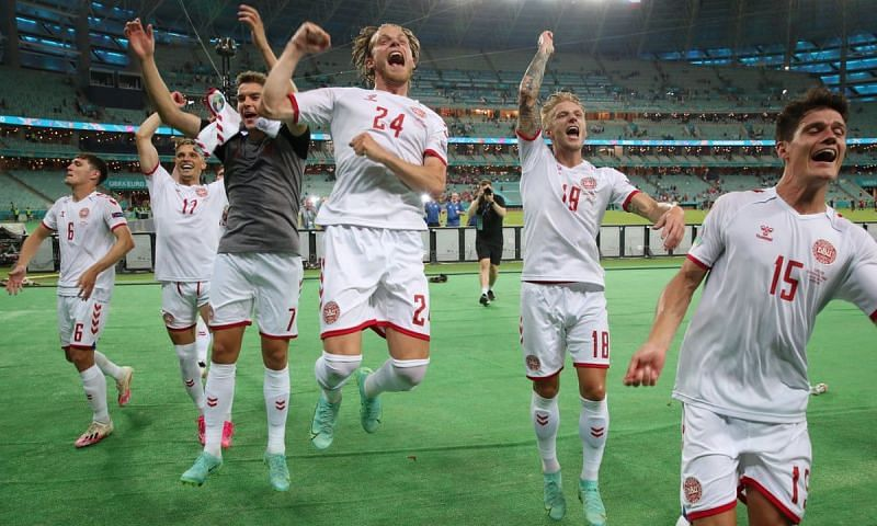 Denmark players rejoice after reaching the Euro 2020 semi-finals.