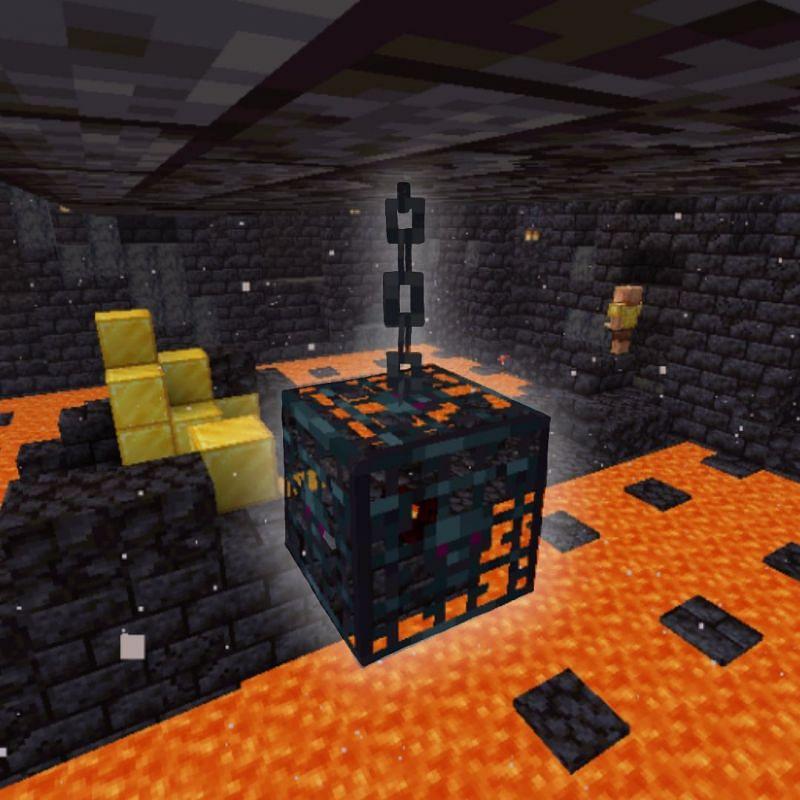 Hanging mob spawner located in bastion remnant treasure room (Image via Reddit)