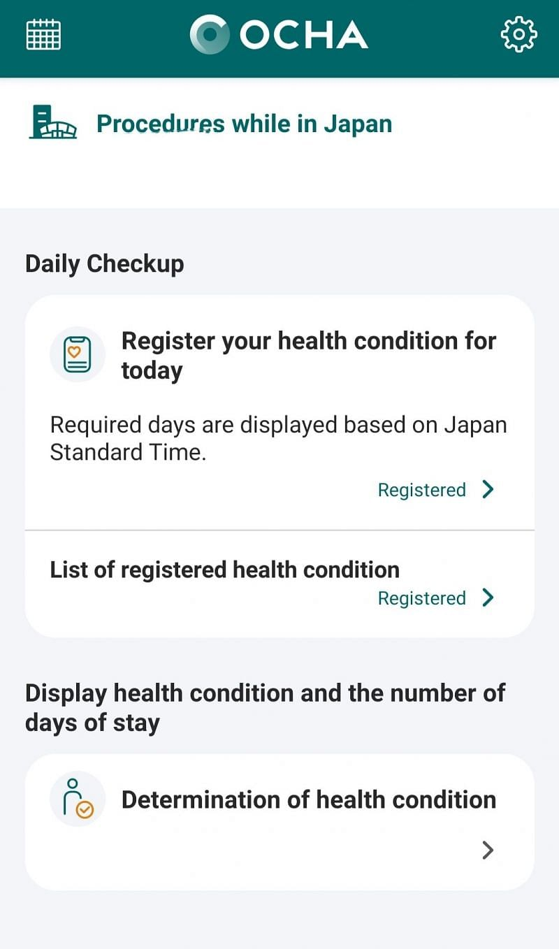 Lifeline of the game OCHA App, require for daily health monitoring