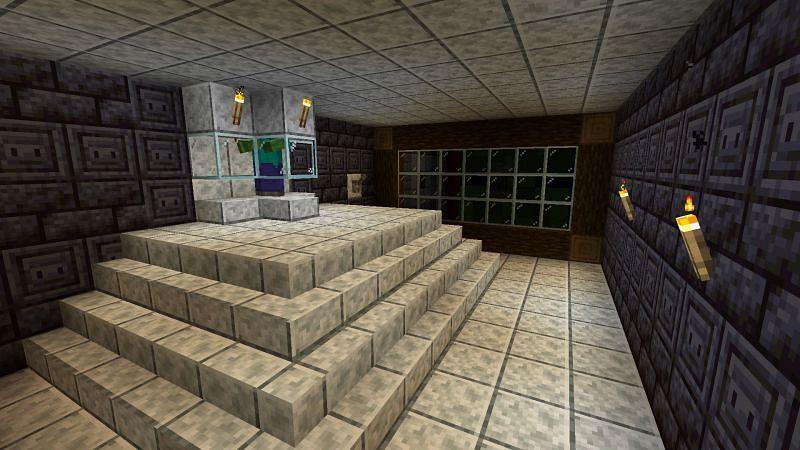 A very aesthetically pleasing zombie XP farm (Image via u/Ekscentricitet on Reddit)